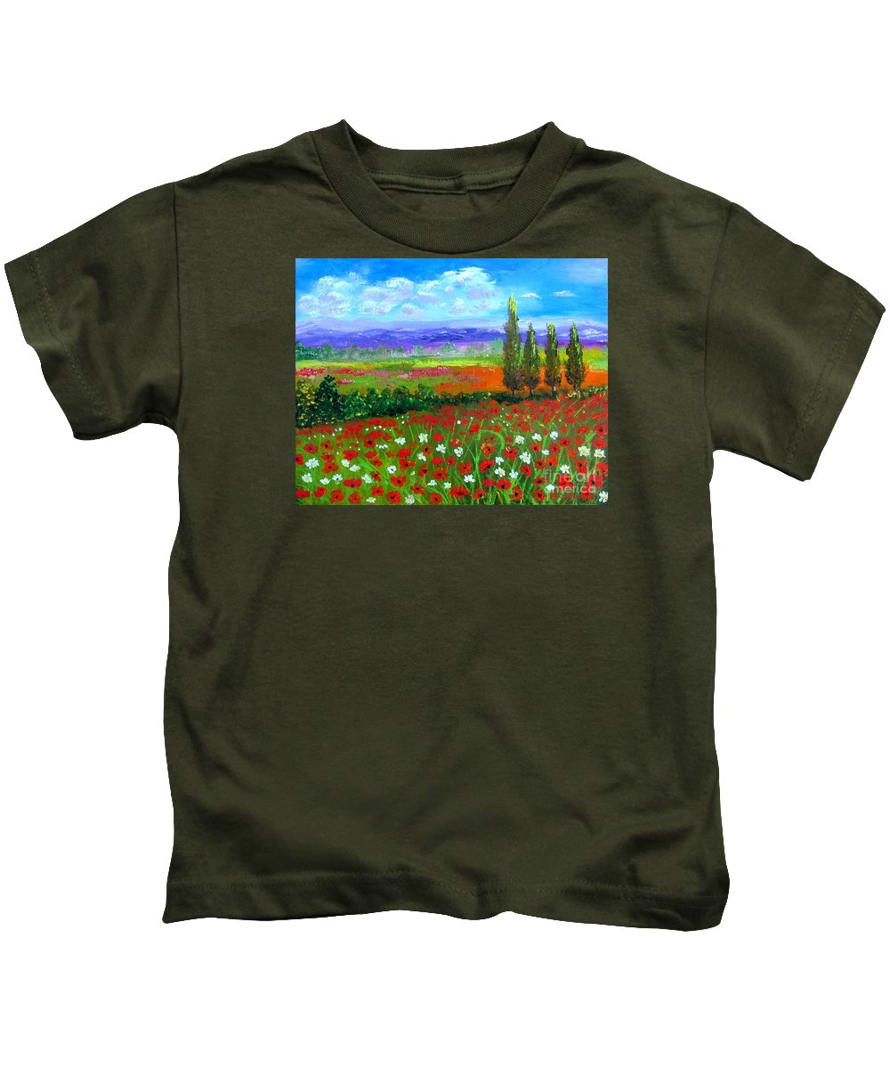 Tuscany Kids T-Shirt featuring the painting Tuscany Poppies Field by Inna Montano