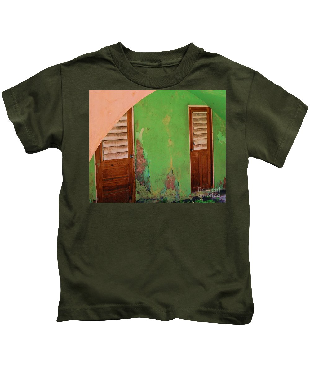 Doors Kids T-Shirt featuring the photograph Twin Doors by Debbi Granruth