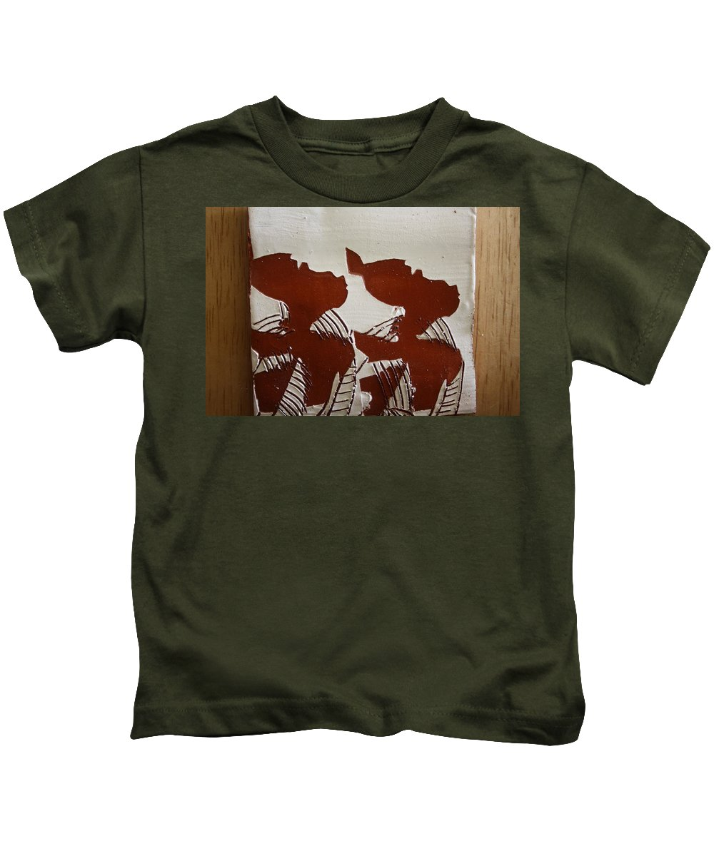 Jesus Kids T-Shirt featuring the ceramic art Twins - Tile by Gloria Ssali