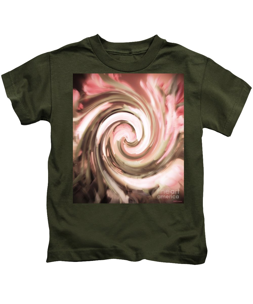 Twirl Lilies With Rose Kids T-Shirt featuring the digital art Twirl Lilies With Rose / Soft Pink Smear by Elizabeth McTaggart
