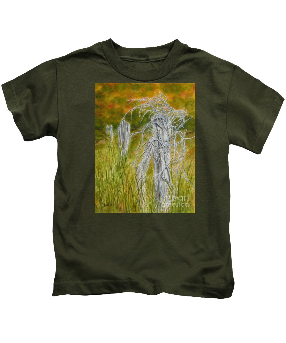 Landscape Kids T-Shirt featuring the painting Twisted by Regan J Smith