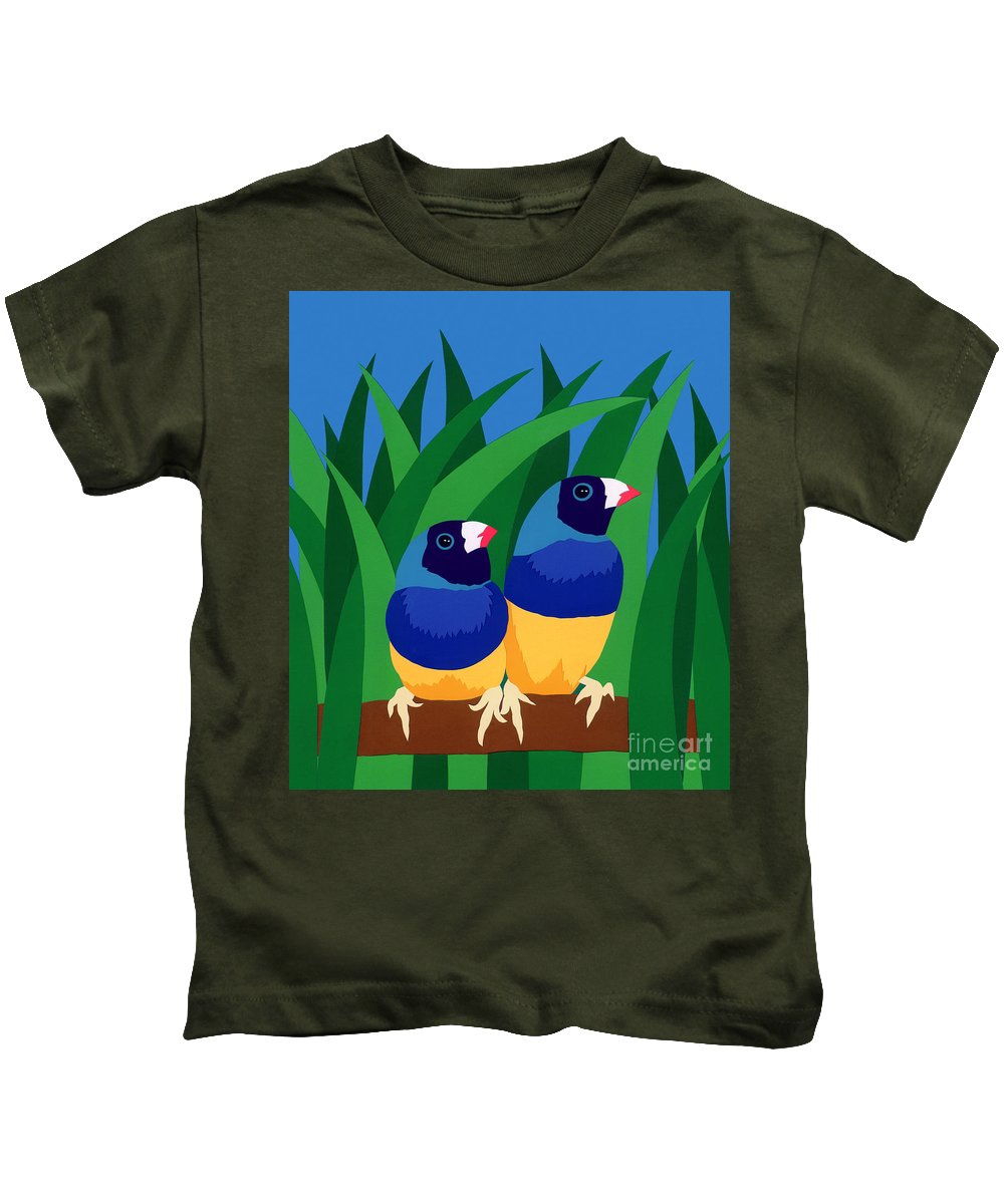 Nature Kids T-Shirt featuring the drawing Two Birds Sharing A Branch by Lucyna A M Green