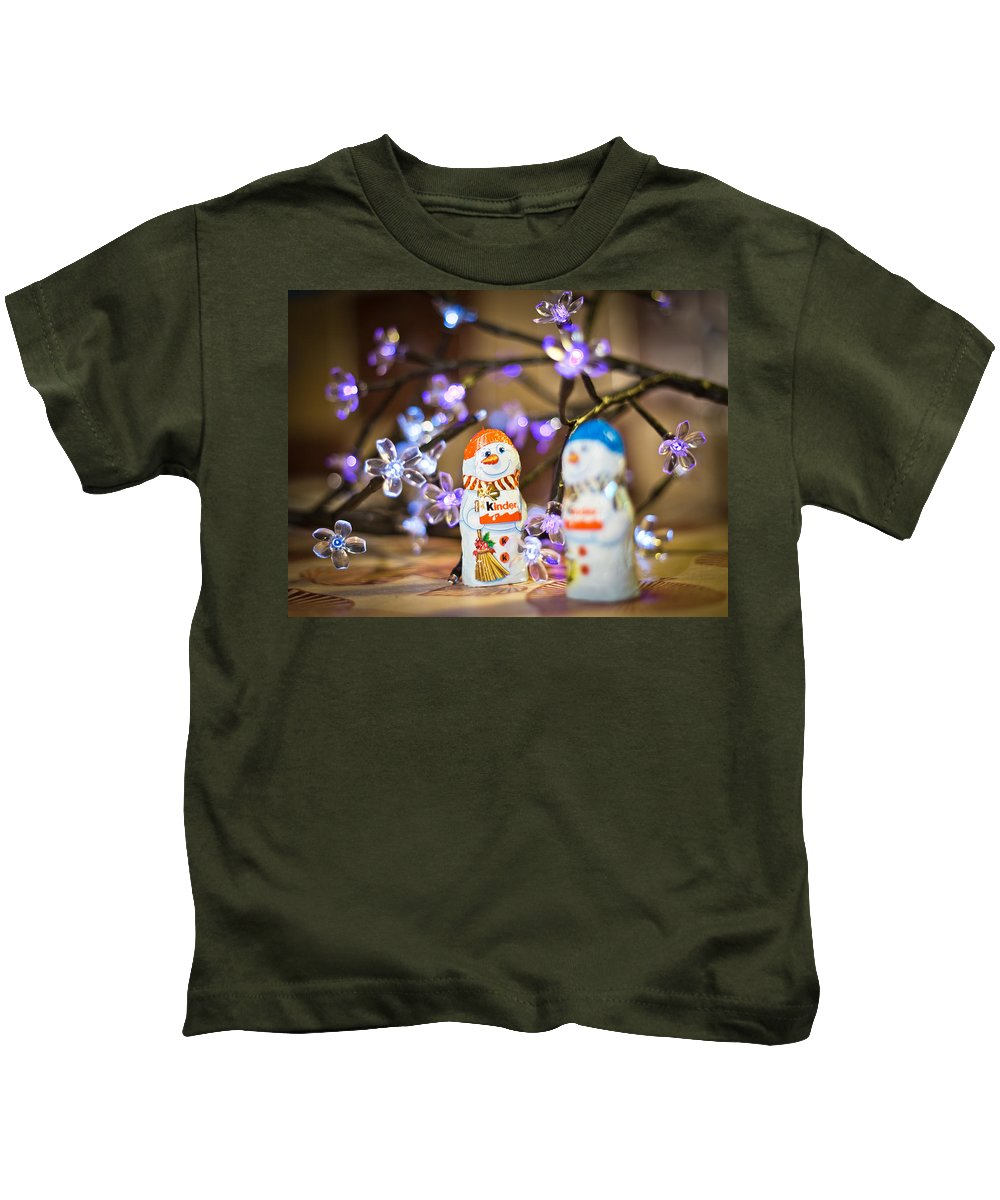 Snowmen Kids T-Shirt featuring the photograph Two Chocolate Snowmen 2 by Alex Art and Photo