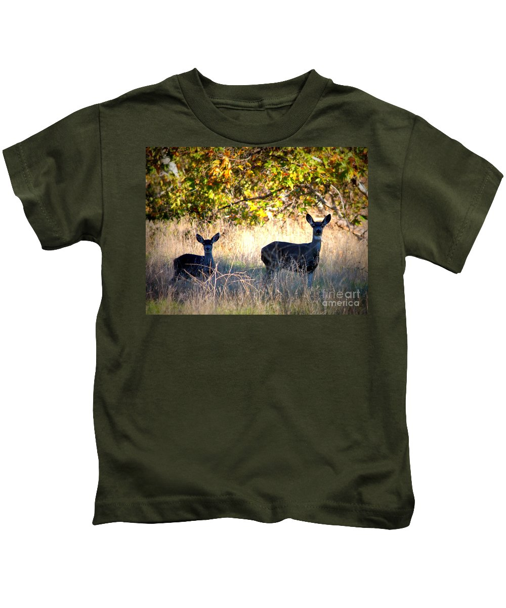 Animal Kids T-Shirt featuring the photograph Two Deer In Autumn Meadow by Carol Groenen