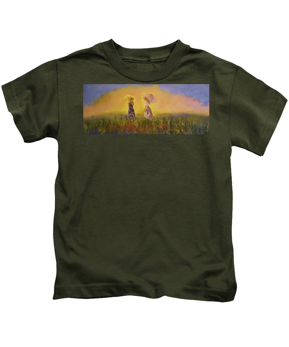 Impressionist Kids T-Shirt featuring the painting Two Friends Walking In The Field by Russell Collins