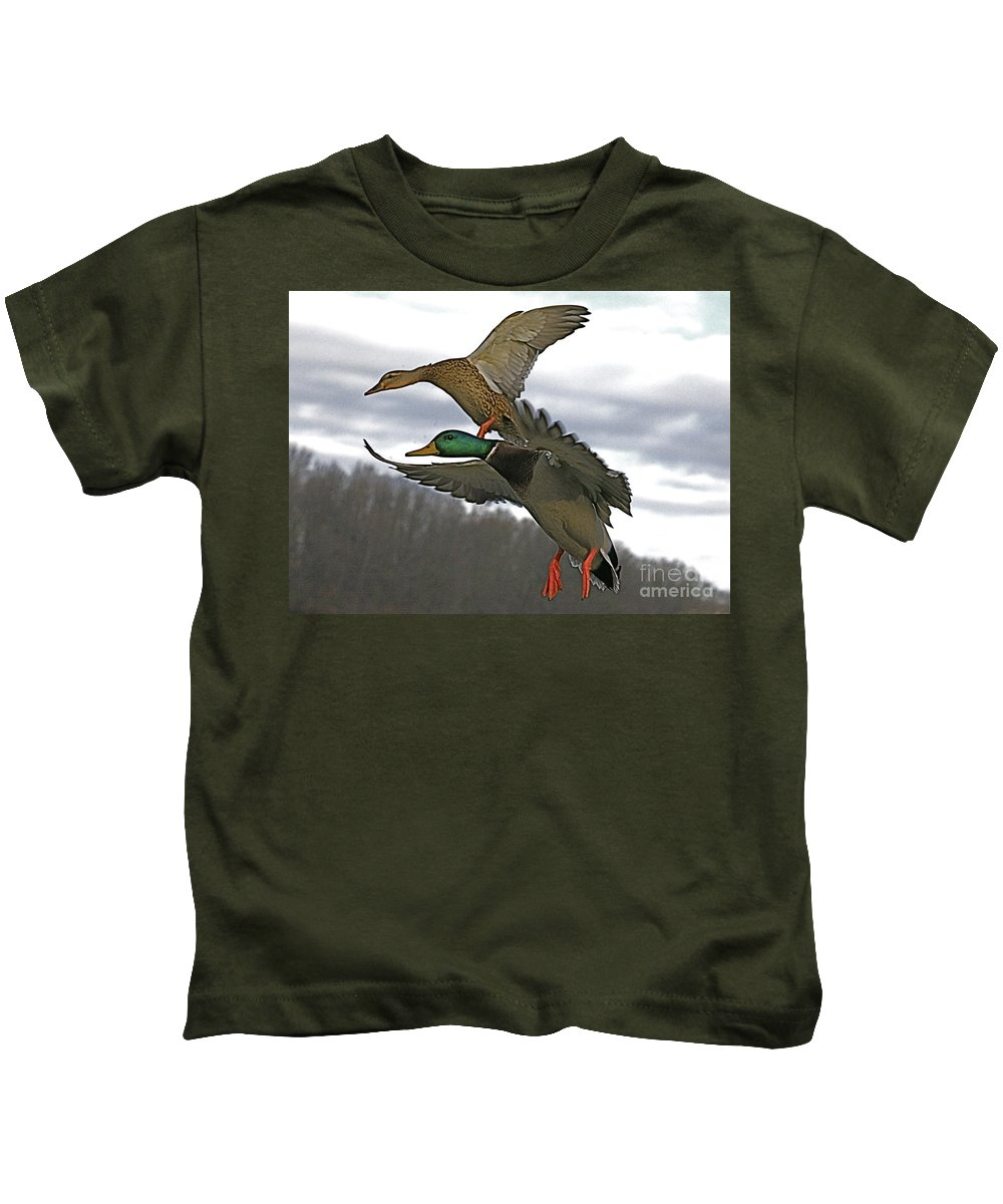 Duck Kids T-Shirt featuring the photograph Two Land by Robert Pearson