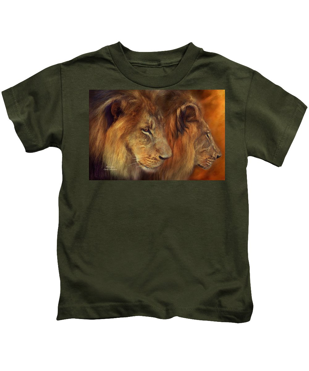 Carol Cavalaris Kids T-Shirt featuring the mixed media Two Lions by Carol Cavalaris