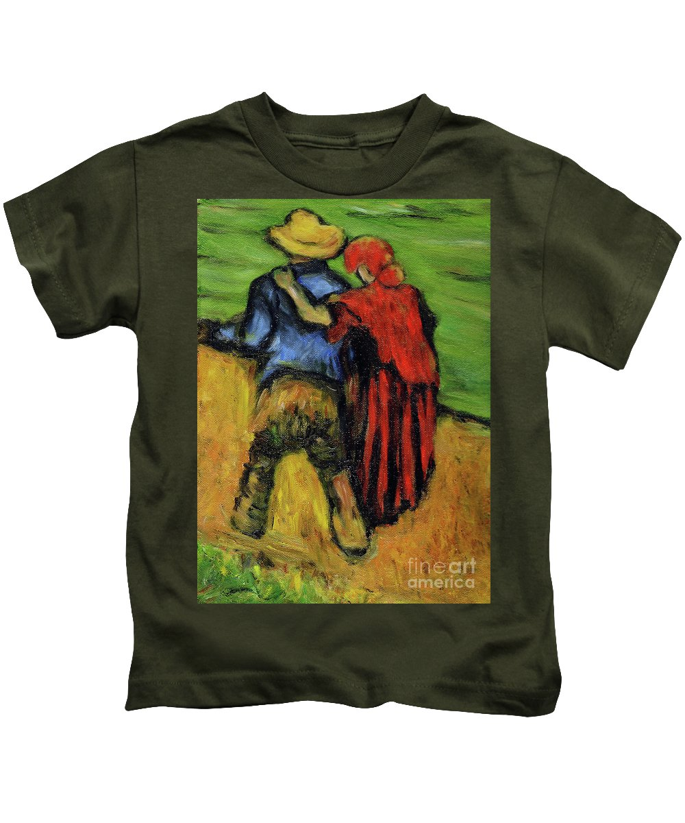 Van Gogh Kids T-Shirt featuring the painting Two Lovers by Xueling Zou