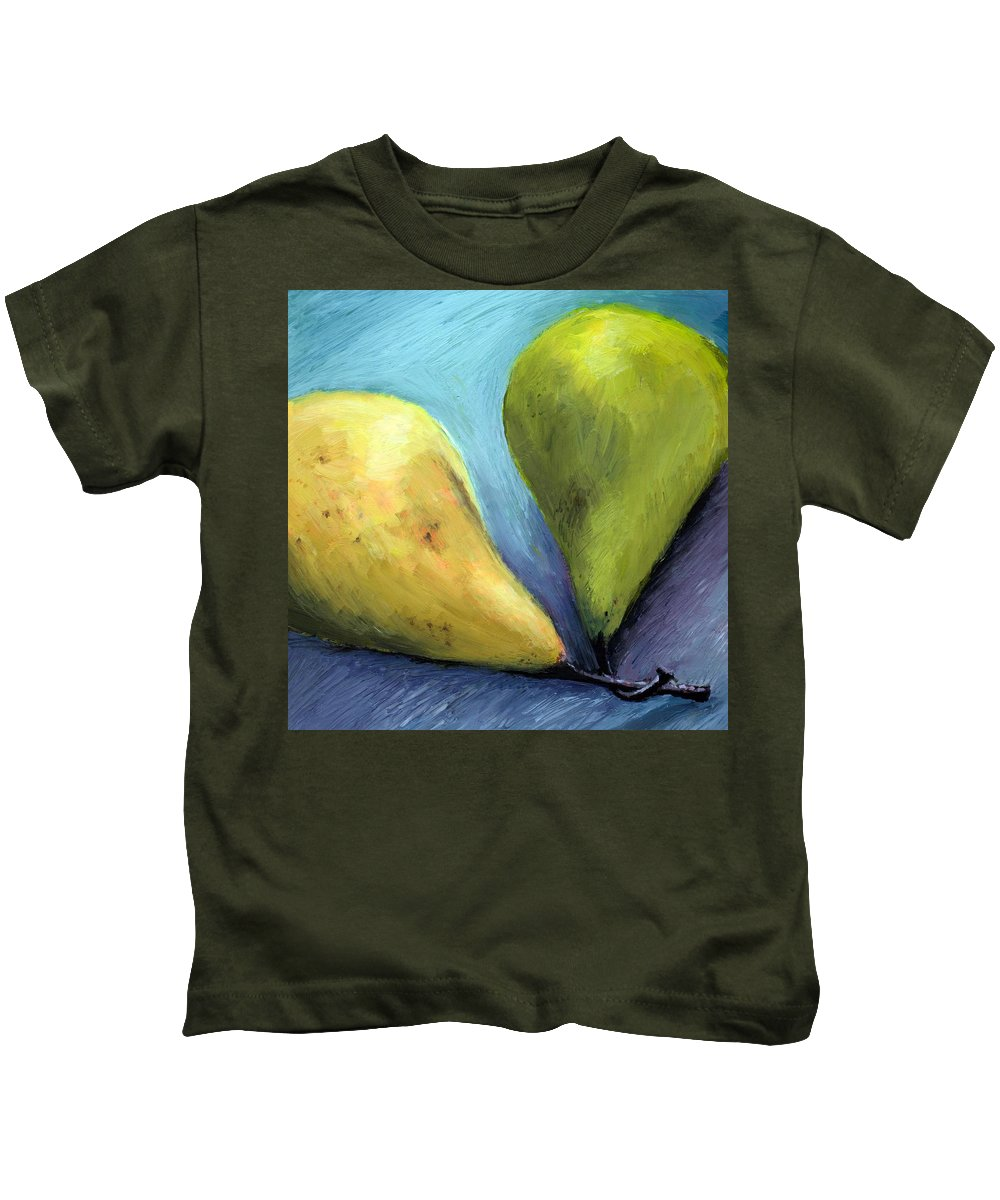 Pear Kids T-Shirt featuring the painting Two Pears Still Life by Michelle Calkins
