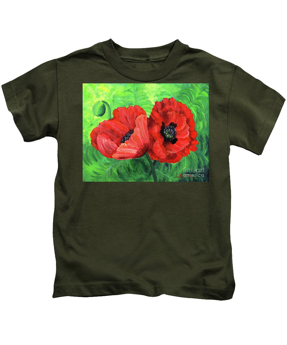 Red Kids T-Shirt featuring the painting Two Red Poppies by Laura Iverson