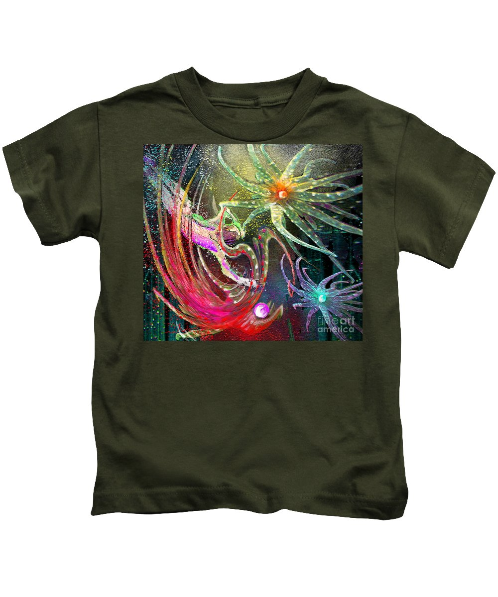 Floating Objects Kids T-Shirt featuring the painting Ufoscape 02 by Miki De Goodaboom