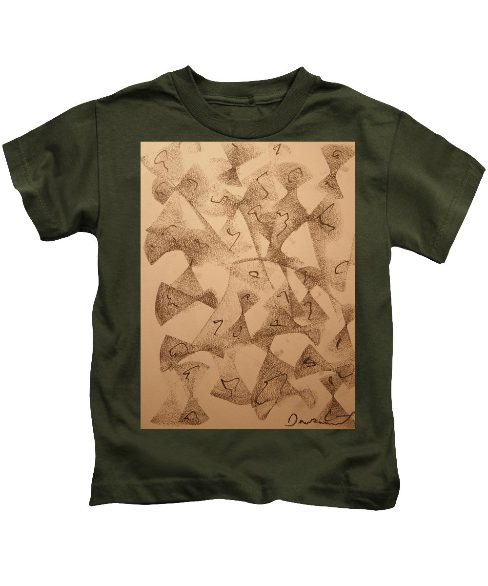 Abstract Kids T-Shirt featuring the drawing Ultra Sound Life by David Barnicoat
