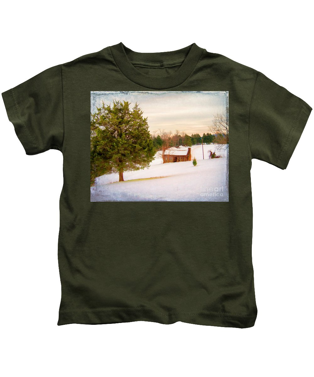 Quaint Kids T-Shirt featuring the photograph Uncle Bob's Cabin by Rebecca Raybon