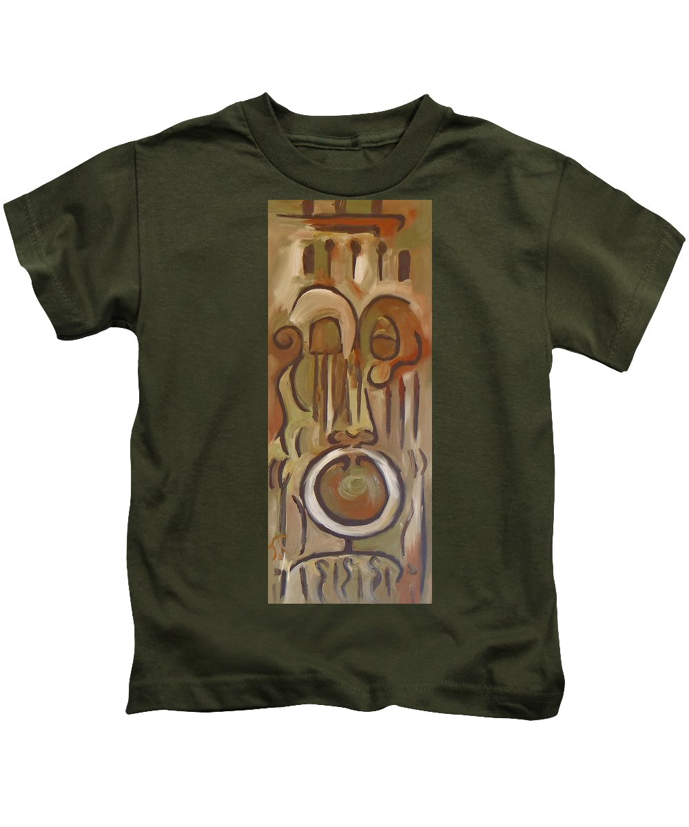 Abstract Modern Art Kids T-Shirt featuring the painting Untitled Siena Series by Troy Thomas