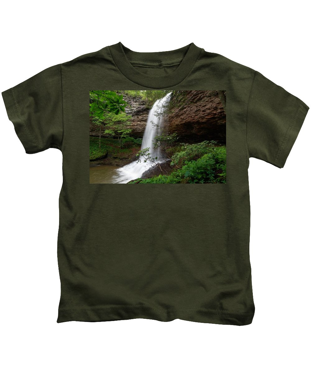 Upper Piney Falls Kids T-Shirt featuring the photograph Upper Piney Falls by Chris Berrier
