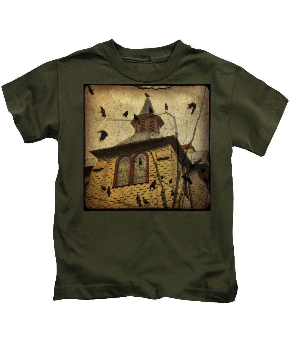 Crows Kids T-Shirt featuring the digital art Urban Crows by Gothicrow Images