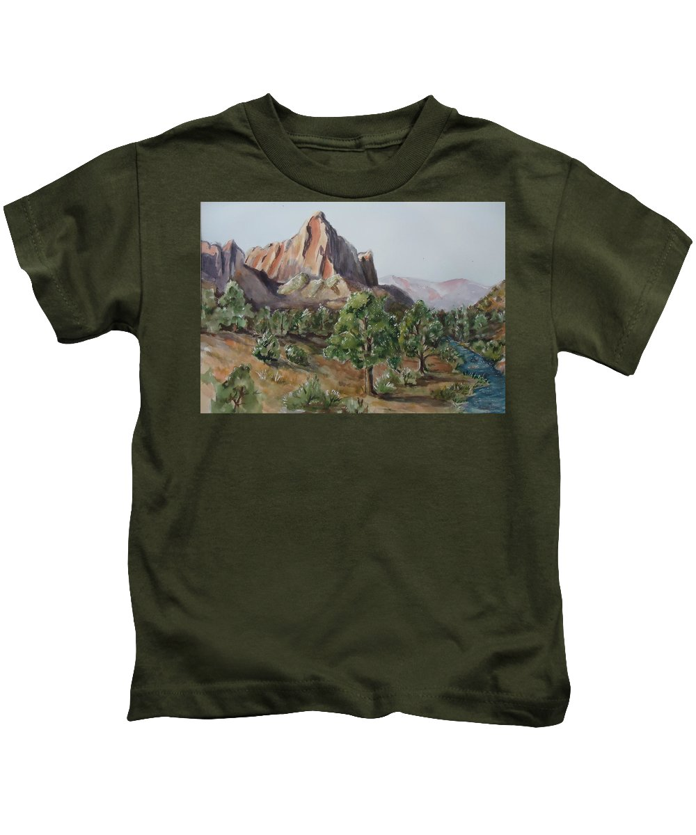 Mountain Kids T-Shirt featuring the painting Utah Valley by Charme Curtin