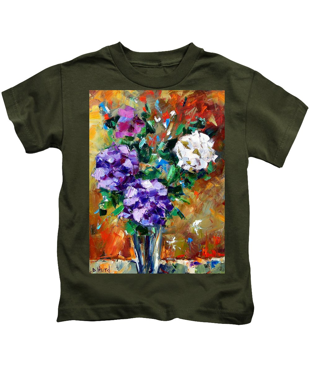 Flowers Kids T-Shirt featuring the painting Vase Of Color by Debra Hurd
