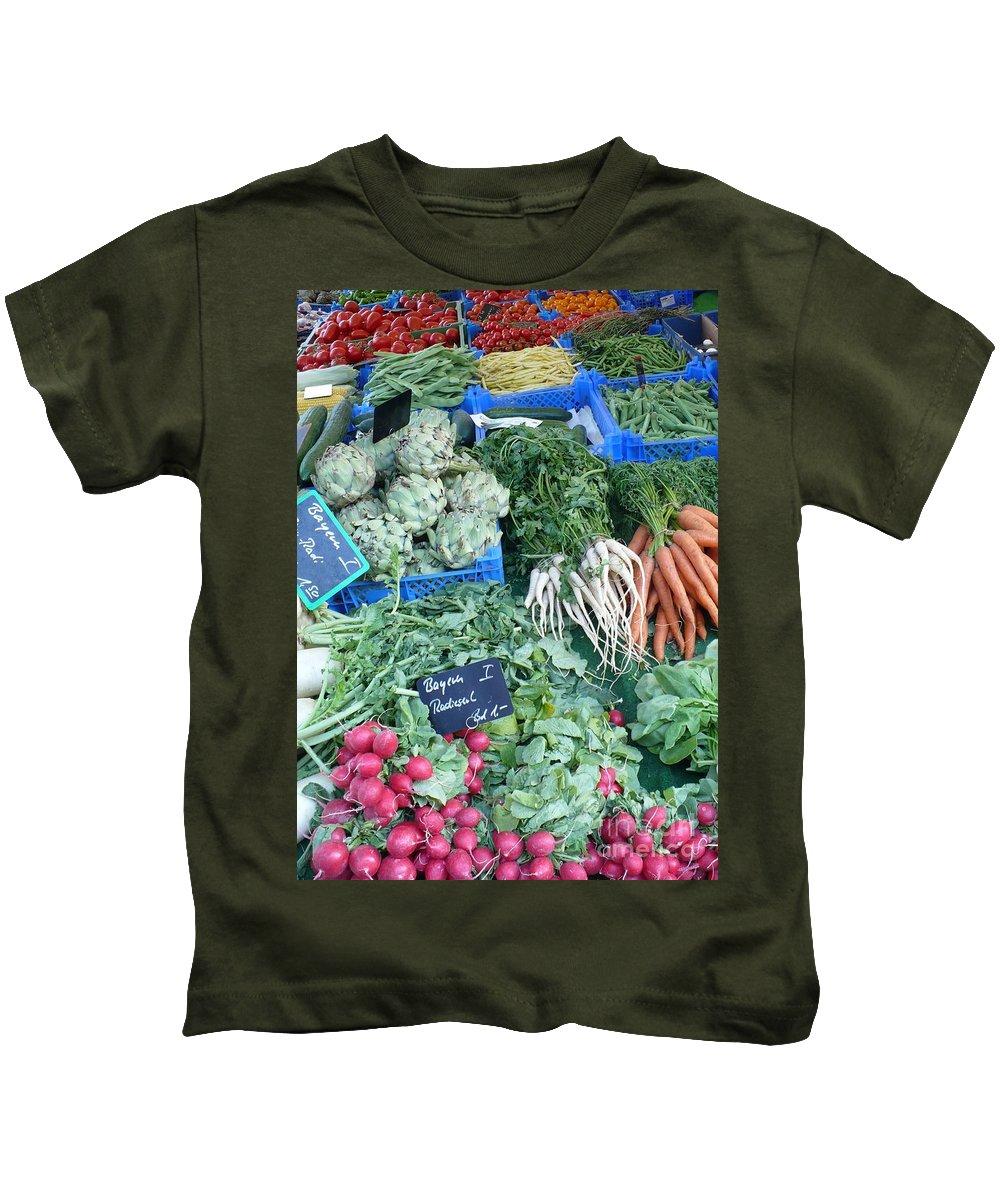 European Markets Kids T-Shirt featuring the photograph Vegetables At German Market by Carol Groenen