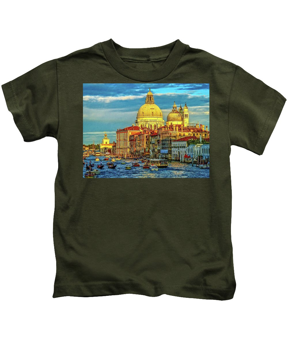 Venice Kids T-Shirt featuring the photograph Venice Basilica by Douglas J Fisher