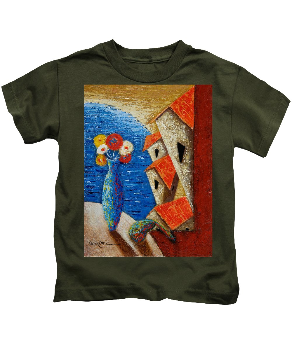Landscape Kids T-Shirt featuring the painting Ventana Al Mar by Oscar Ortiz