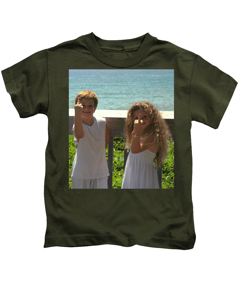 Kids Kids T-Shirt featuring the photograph Very Naughty Angels by Rob Hans