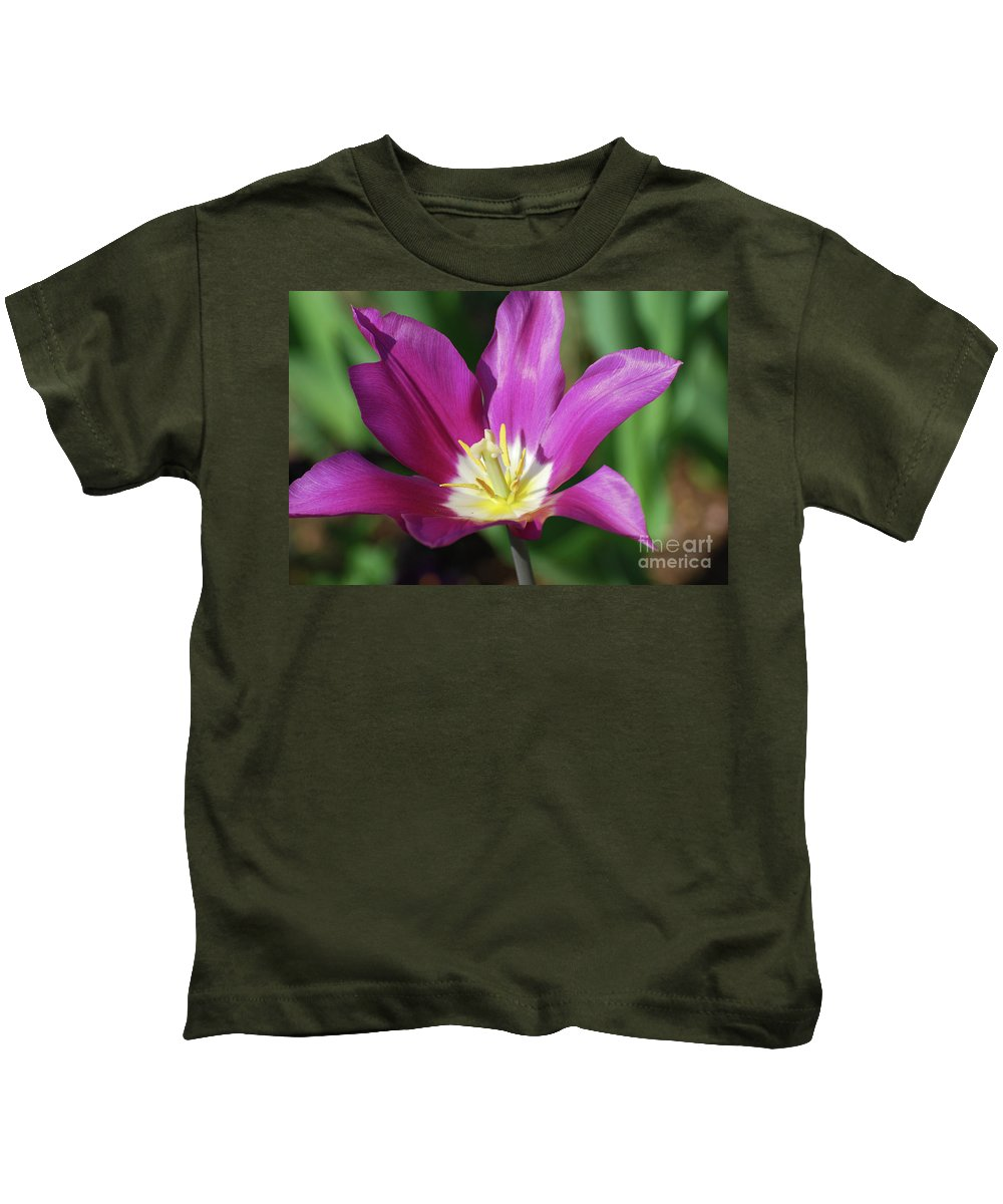 Tulip Kids T-Shirt featuring the photograph Very Pretty Dark Pink Blooming Tulip With Yellow In The Center by DejaVu Designs