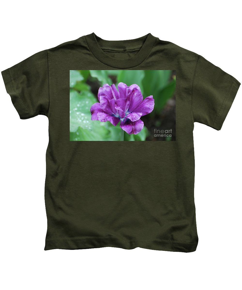 Tulip Kids T-Shirt featuring the photograph Very Pretty Purple Tulip With Dew Drops On The Petals by DejaVu Designs