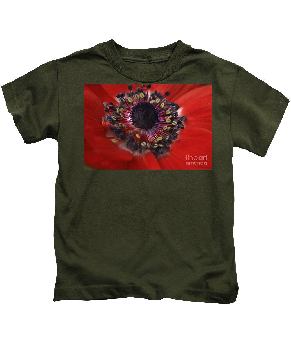Flower Kids T-Shirt featuring the photograph Vibrant Red by Deborah Benoit