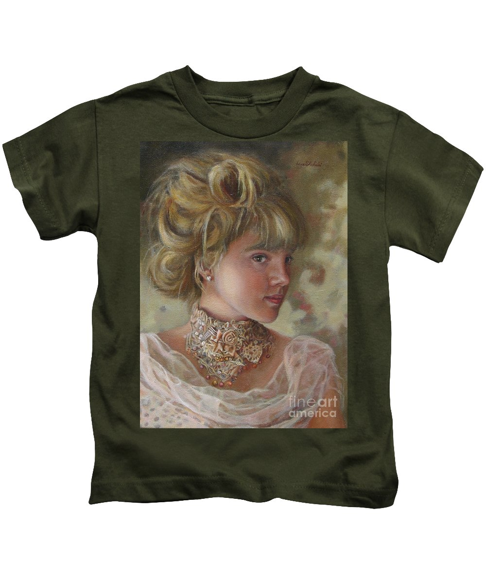 Figurative Art Kids T-Shirt featuring the painting Victorian Beauty by Portraits By NC
