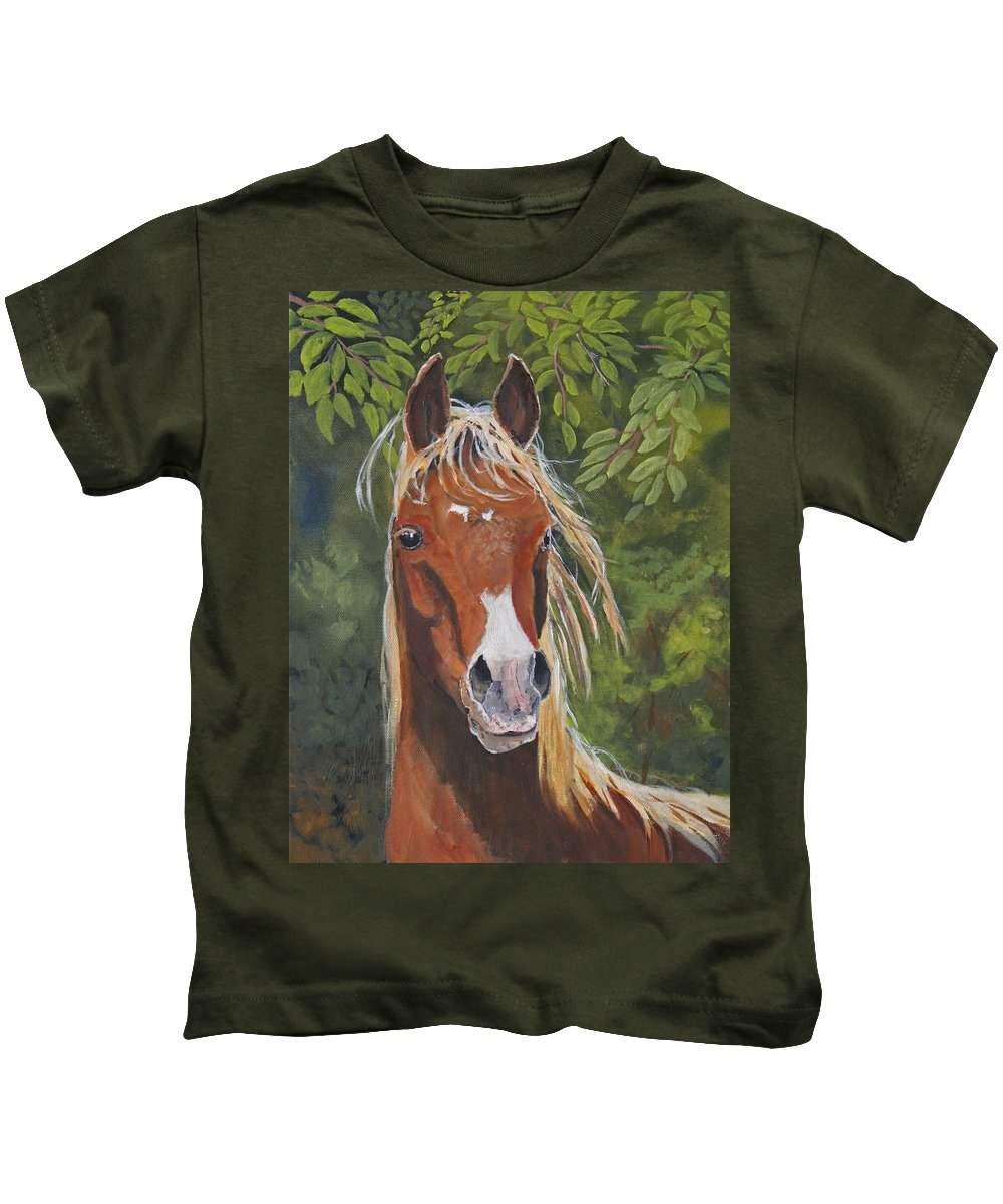 Horse Kids T-Shirt featuring the painting Victory by Heather Coen