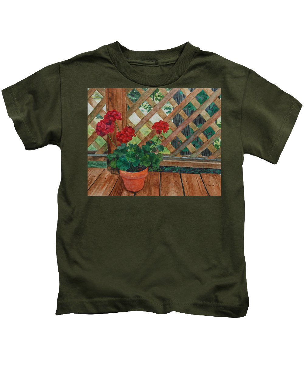 Watercolor Kids T-Shirt featuring the painting View From A Deck by Lynne Reichhart