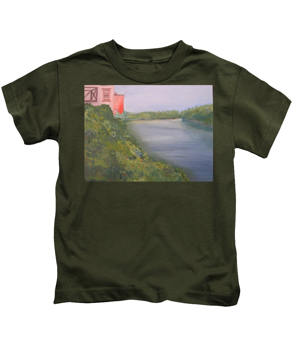 Landscape River Water Nature Kids T-Shirt featuring the painting View From Edmund Pettus Bridge by Patricia Caldwell
