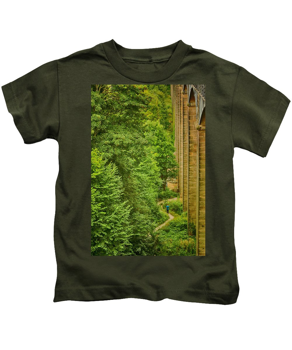 Wales Kids T-Shirt featuring the photograph View From The Lllangollen Aqueduct In Wales by Larry Pegram