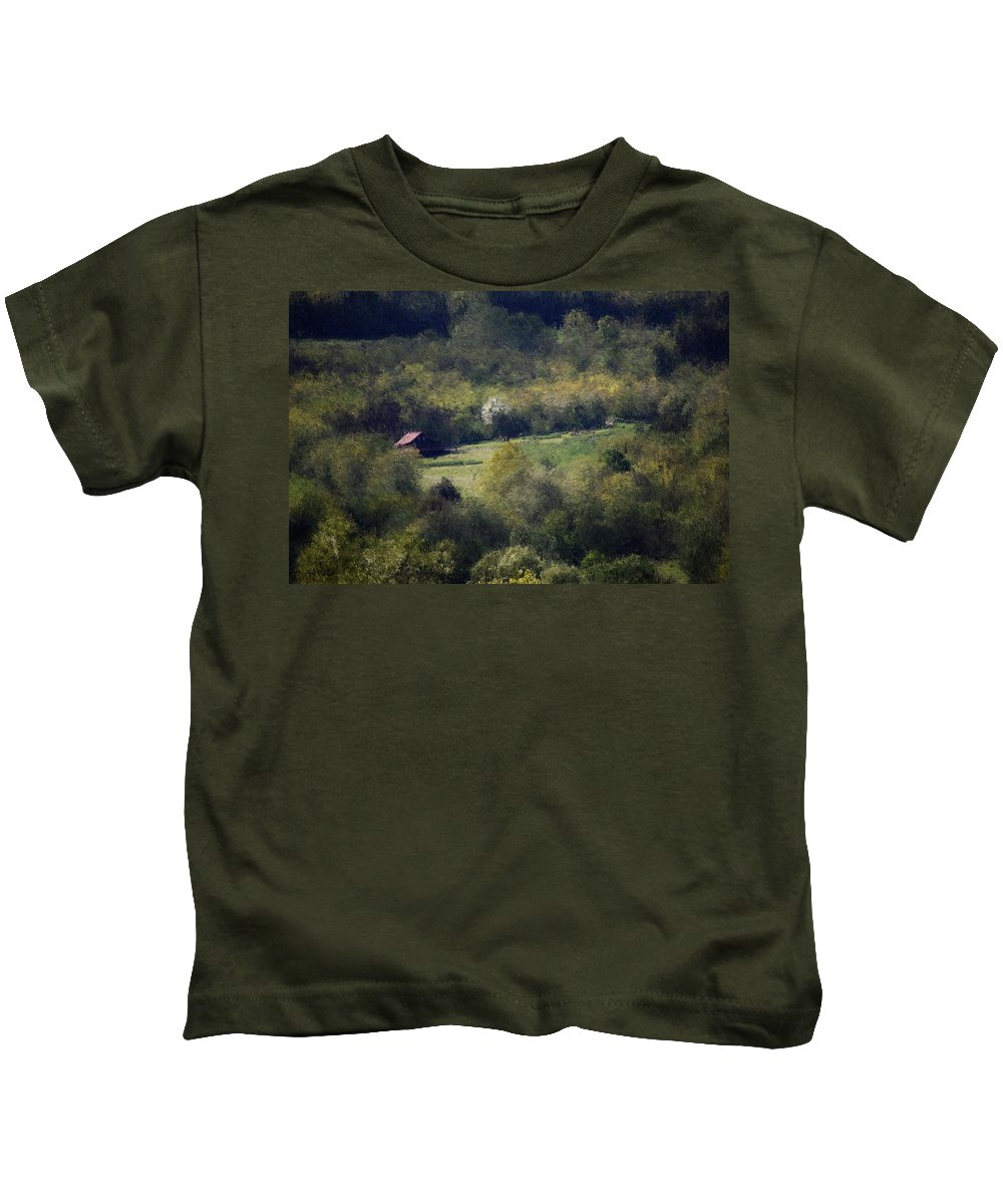 Digital Photography Kids T-Shirt featuring the digital art View From The Pond At The Hacienda by David Lane