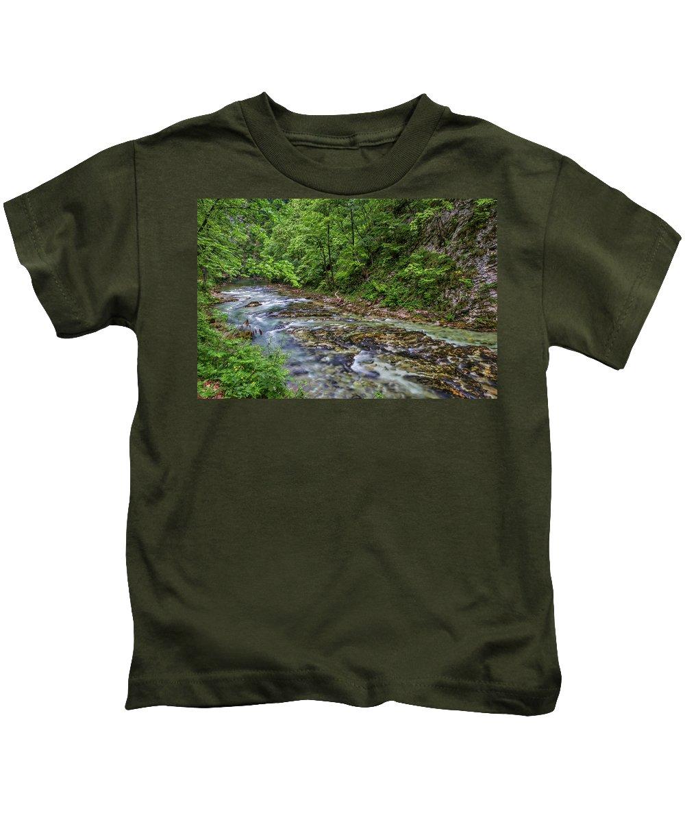 Slovenia Kids T-Shirt featuring the photograph View In Vintgar Gorge - Slovenia by Stuart Litoff