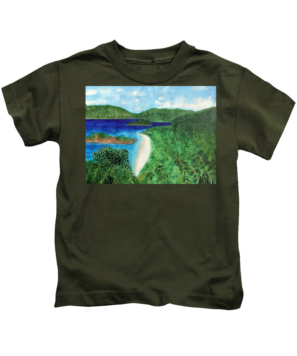 Atlantic Kids T-Shirt featuring the painting View Of Beach In St John Us Virgin Islands by Lee Serenethos