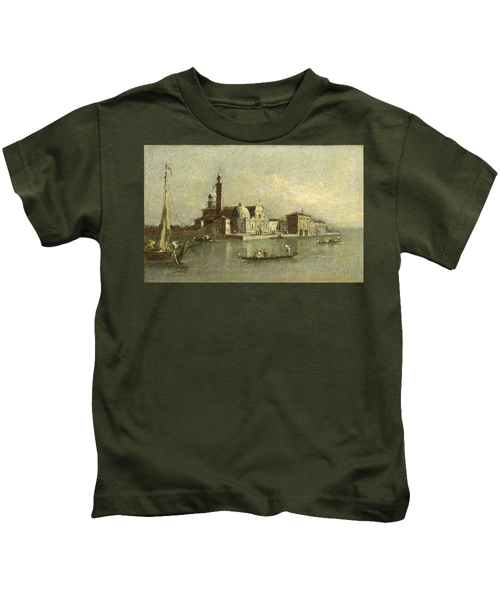 Attributed To Giacomo Guardi Kids T-Shirt featuring the painting View Of The Isola Di San Michele In Venice by Attributed to Giacomo Guardi