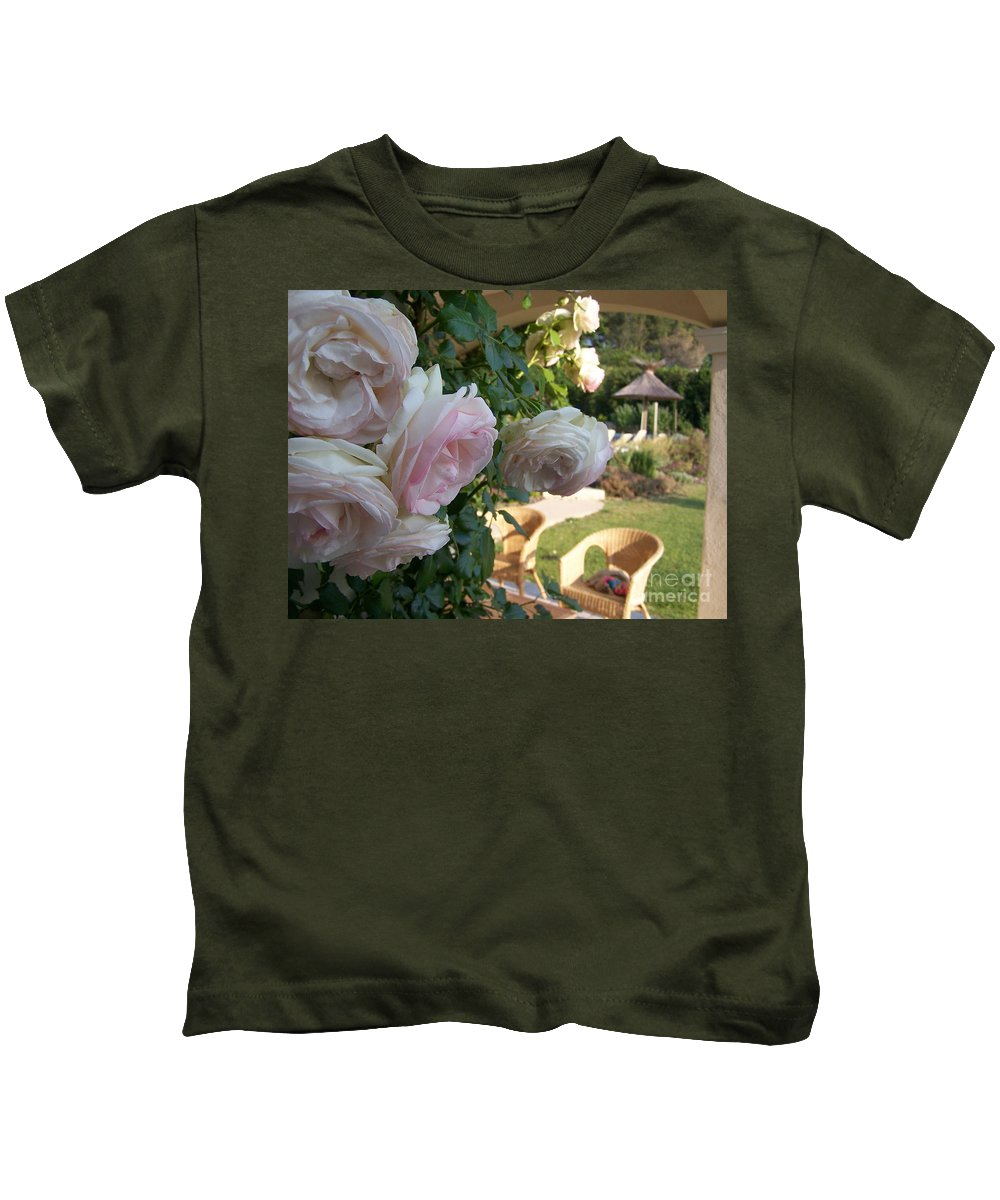 Roses Kids T-Shirt featuring the photograph Villa Roses by Nadine Rippelmeyer