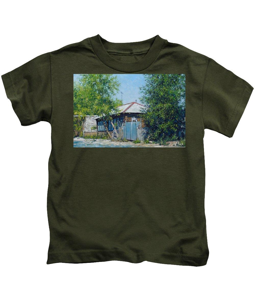 Volya Kids T-Shirt featuring the painting Village Line. Summer by Alexander Volya