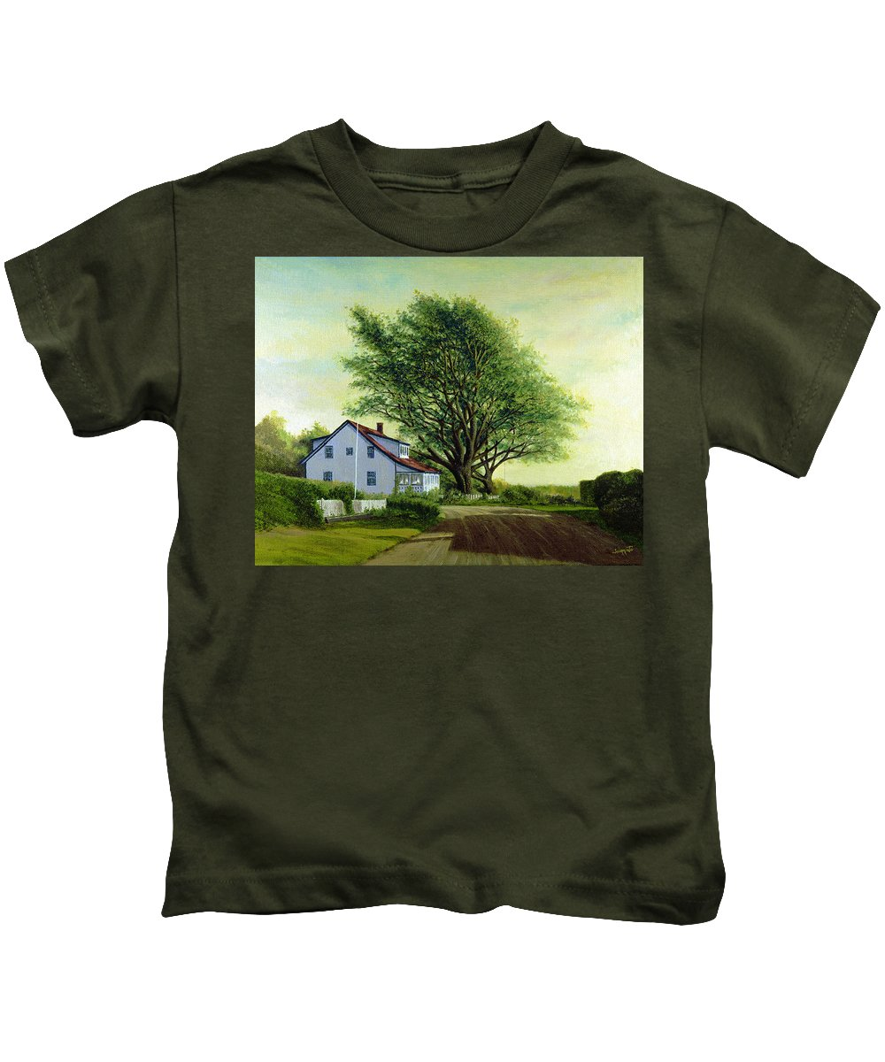 Kids T-Shirt featuring the painting Village Road Orient 16x20 by Tony Scarmato