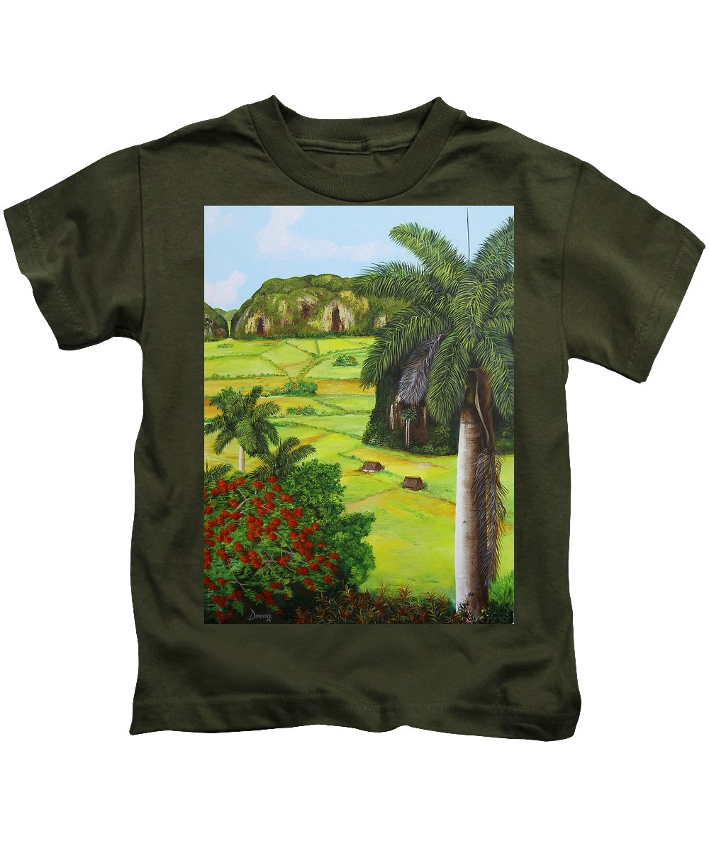 Cuban Landscape Kids T-Shirt featuring the painting Vinales Valley by Dominica Alcantara