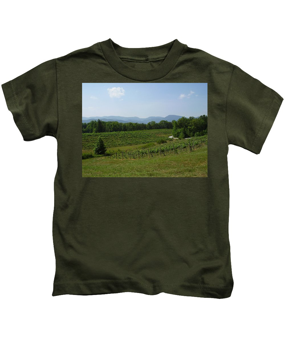 Vineyard Kids T-Shirt featuring the photograph Vineyard by Flavia Westerwelle