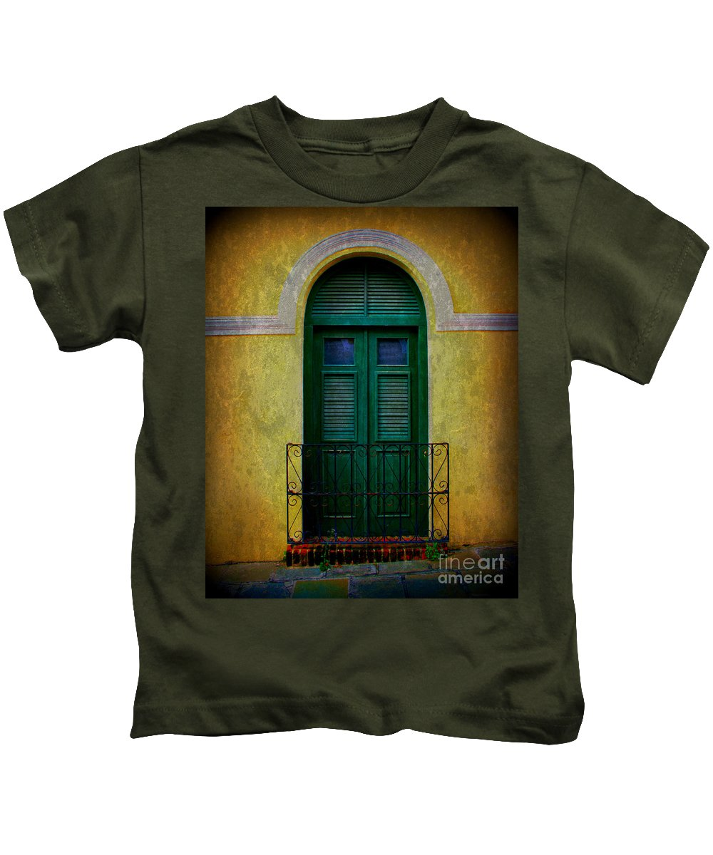 Door Kids T-Shirt featuring the photograph Vintage Arched Door by Perry Webster