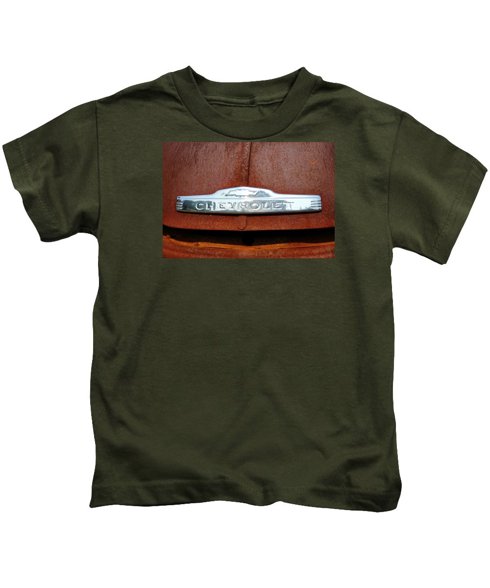 Chevrolet Pickup Kids T-Shirt featuring the photograph Vintage Chevy Truck Emblem by Brian Manfra