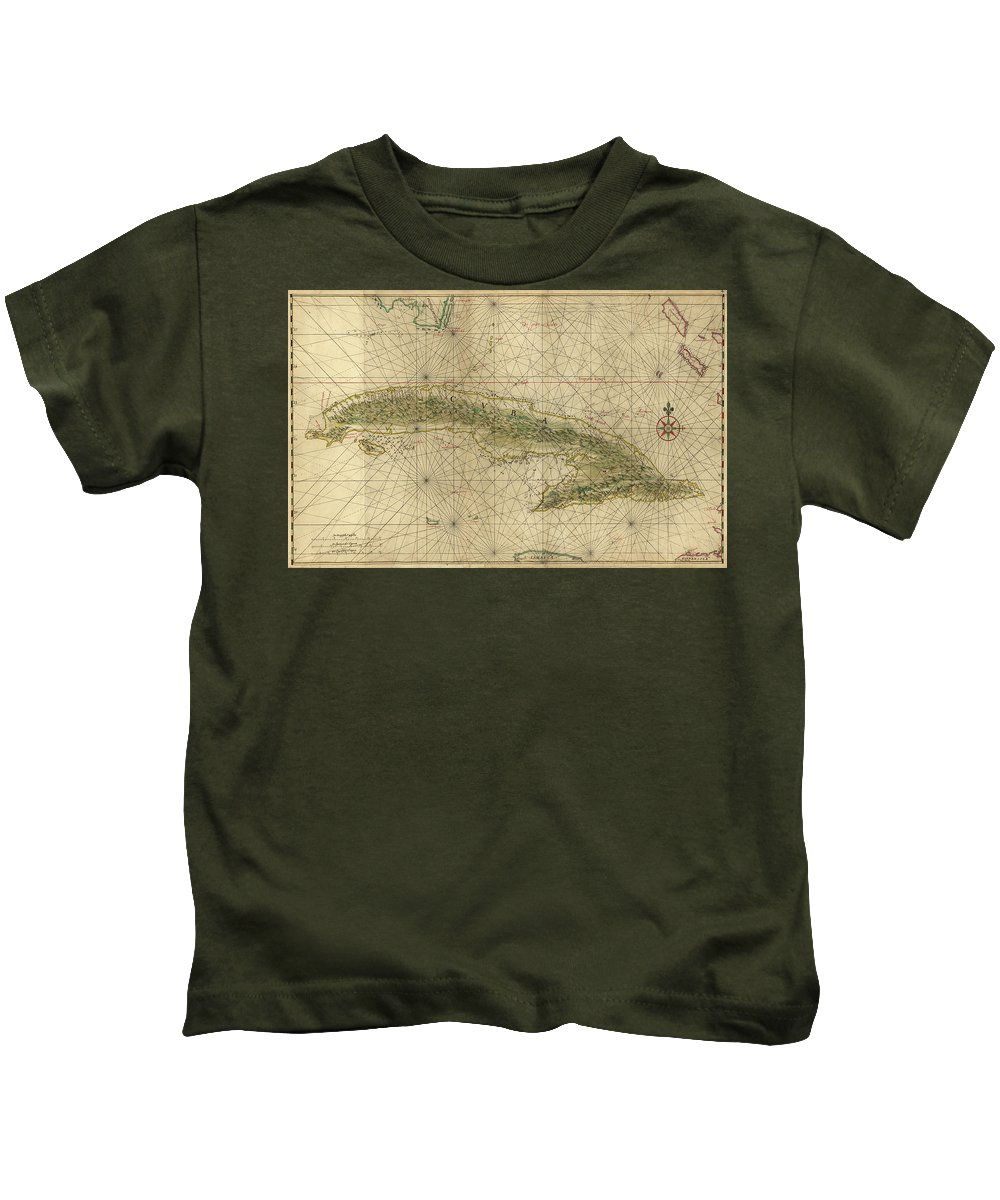 Cuba Kids T-Shirt featuring the drawing Vintage Map Of Cuba - 1639 by CartographyAssociates