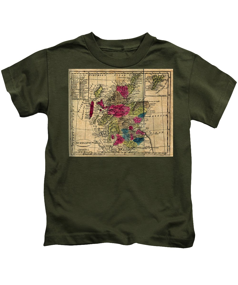 Scotland Kids T-Shirt featuring the drawing Vintage Map Of Scotland - 1808 by CartographyAssociates