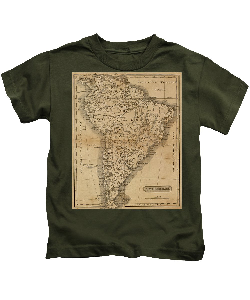 South America Kids T-Shirt featuring the drawing Vintage Map Of South America - 1825 by CartographyAssociates