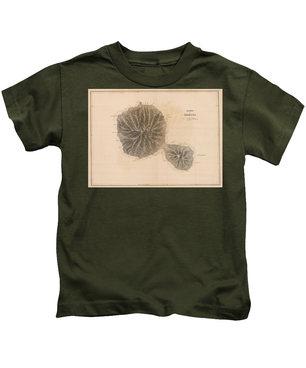 Tahiti Kids T-Shirt featuring the drawing Vintage Map Of Tahiti - 1845 by CartographyAssociates