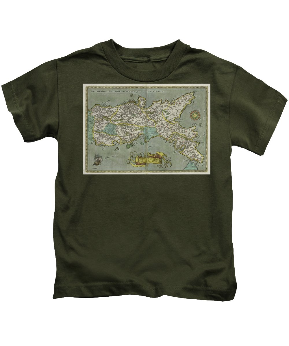 Kingdom Of Naples Kids T-Shirt featuring the drawing Vintage Map Of The Kingdom Of Naples - 1608 by CartographyAssociates